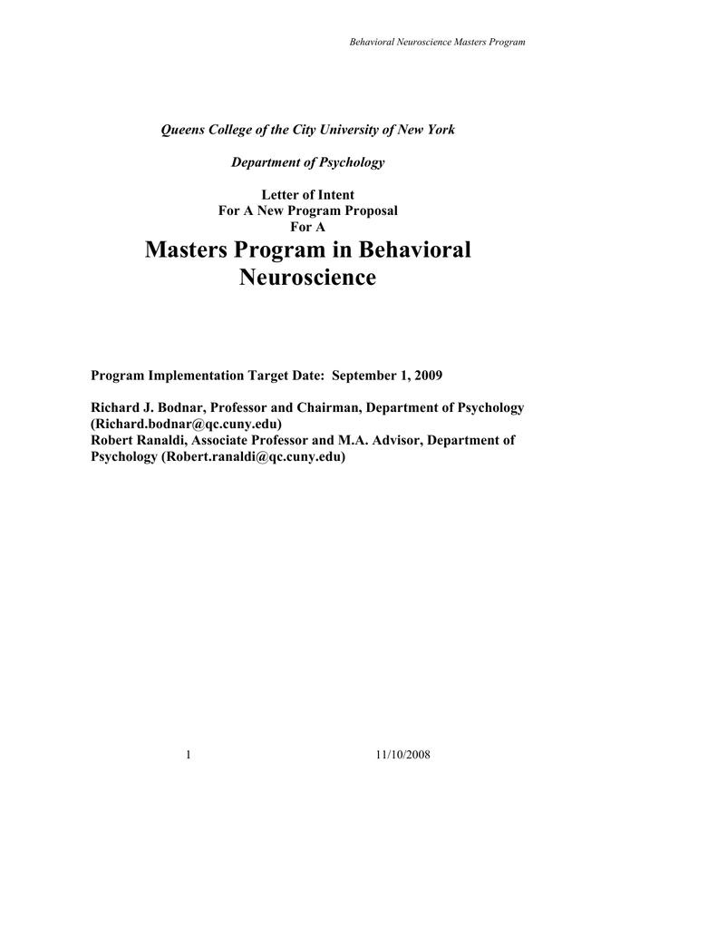 Masters Program in Behavioral Neuroscience