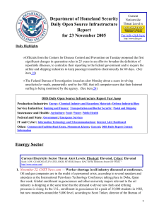 Department of Homeland Security Daily Open Source Infrastructure Report for 23 November 2005
