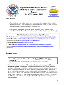 Department of Homeland Security Daily Open Source Infrastructure Report for 07 November 2005