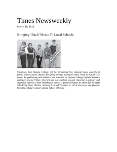 Times Newsweekly Bringing 'Bach' Music To Local Schools March 29, 2012
