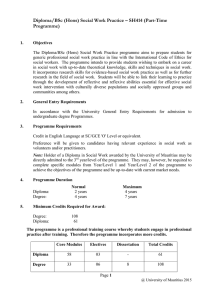 Diploma/BSc (Hons) Social Work Practice – SH414 (Part-Time Programme)