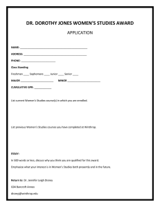 DR. DOROTHY JONES WOMEN'S STUDIES AWARD APPLICATION