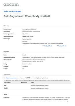 Anti-Angiotensin III antibody ab47689 Product datasheet Overview Product name