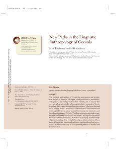 New Paths in the Linguistic Anthropology of Oceania Further