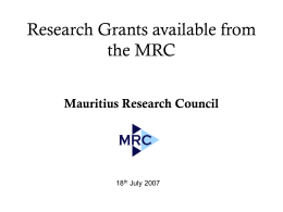 Research Grants available from the MRC Mauritius Research Council 18