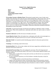 Virginia Tech—English Education Lesson Plan Template Name: Date: