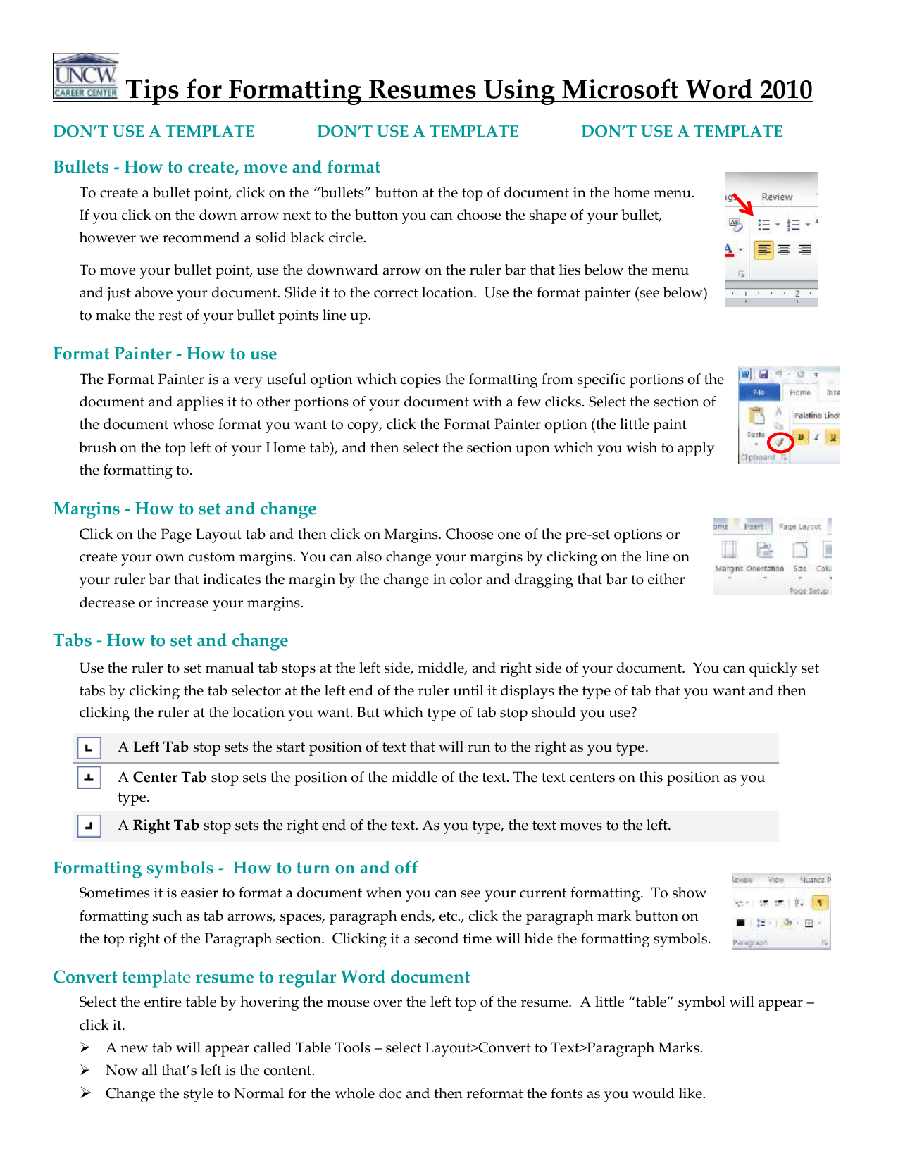 Tips For Formatting Resumes Using Microsoft Word 2010