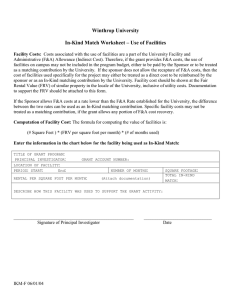 Winthrop University  In-Kind Match Worksheet – Use of Facilities