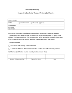 Winthrop University Responsible Conduct of Research Training Certification