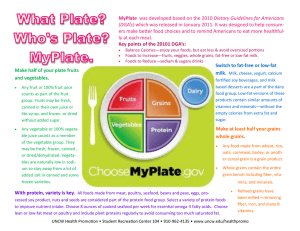 MyPlate ers make better food choices and to remind Americans to... ly at each meal. (DGA's)