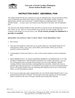 INSTRUCTION SHEET: ABDOMINAL PAIN  University of North Carolina Wilmington
