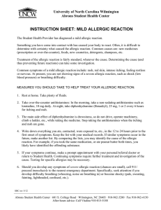 INSTRUCTION SHEET: MILD ALLERGIC REACTION University of North Carolina Wilmington