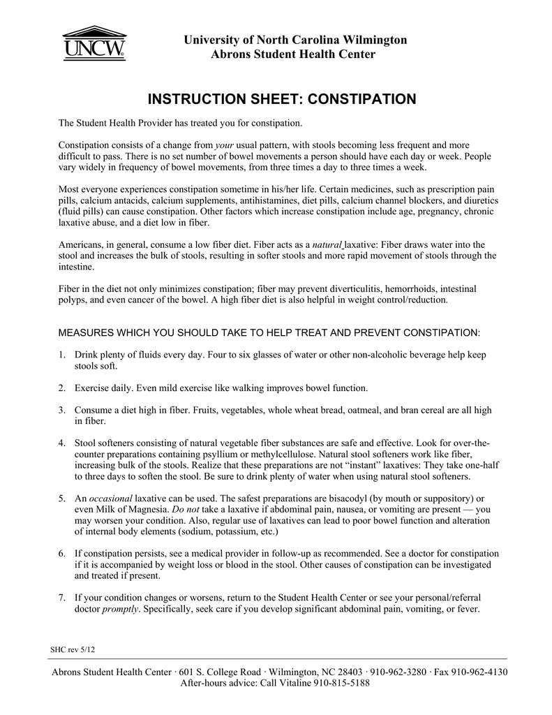 Superb Instruction Sheet Constipation University Of North Carolina Machost Co Dining Chair Design Ideas Machostcouk