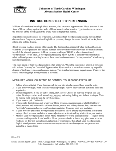 INSTRUCTION SHEET: HYPERTENSION University of North Carolina Wilmington Abrons Student Health Center