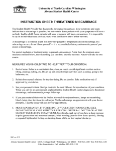 INSTRUCTION SHEET: THREATENED MISCARRIAGE  University of North Carolina Wilmington