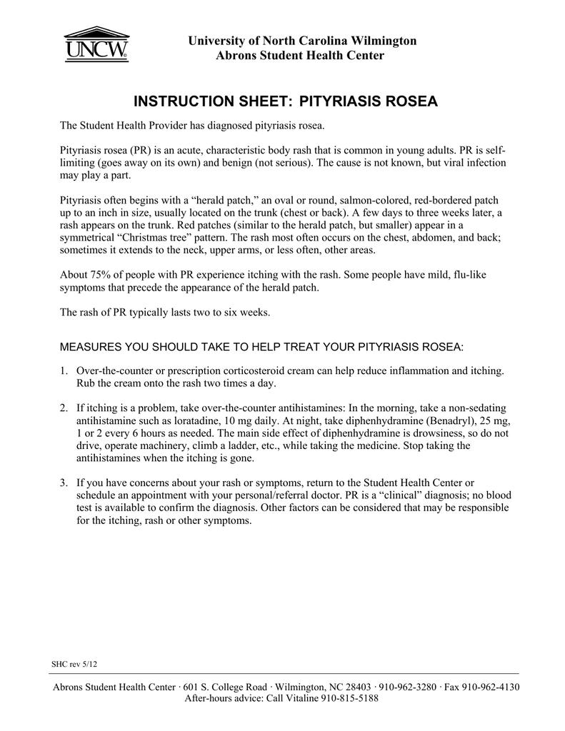INSTRUCTION SHEET: PITYRIASIS ROSEA University of North