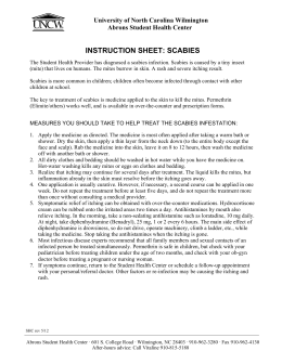 INSTRUCTION SHEET: SCABIES University of North Carolina Wilmington Abrons Student Health Center