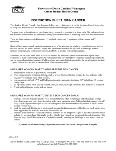 INSTRUCTION SHEET: SKIN CANCER University of North Carolina Wilmington
