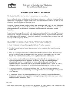 INSTRUCTION SHEET: SUNBURN University of North Carolina Wilmington Abrons Student Health Center
