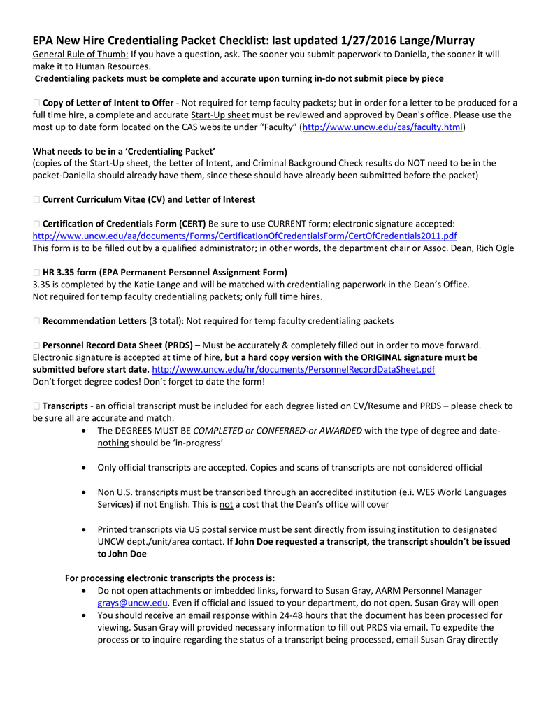 epa new hire credentialing packet checklist last updated 1272016 langemurray