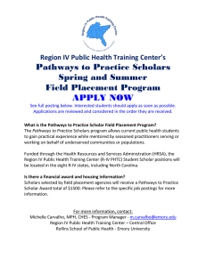 Pathways to Practice Scholars Spring and Summer Field Placement Program APPLY NOW