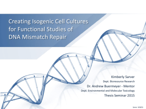 Creating Isogenic Cell Cultures for Functional Studies of DNA Mismatch Repair Kimberly Sarver