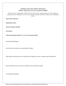 POST-TRAVEL EVALUATION FORM Winthrop University Student Allocations