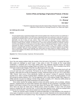 Control of Rots and Spoilage of Agricultural Products: A Review