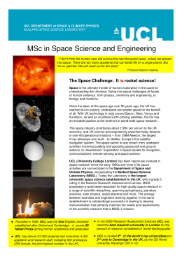 MSc in Space Science and Engineering