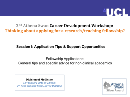 2 Athena Swan Career Development Workshop: Thinking about applying for a research/teaching fellowship?