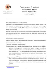Open Access Guidelines for research results funded by the ERC