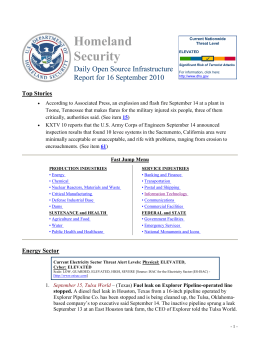 Homeland Security Daily Open Source Infrastructure Report for 16 September 2010