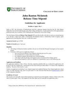 John Ranton McIntosh Release Time Stipend  C