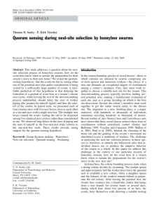 Quorum sensing during nest-site selection by honeybee swarms