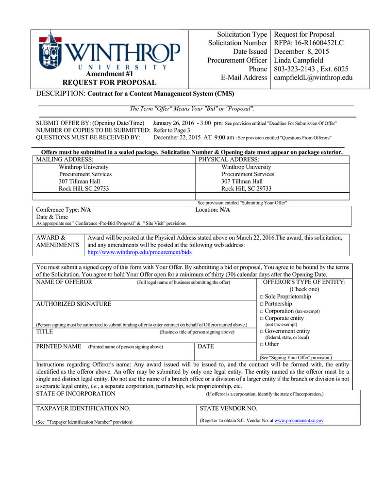 Solicitation Type Request for Proposal Solicitation Number RFP#: 16