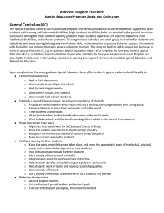 Watson College of Education  Special Education Program Goals and Objectives  General Curriculum (GC)