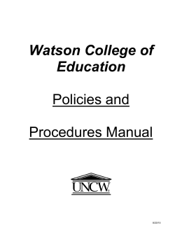 Policies and Procedures Manual Watson College of