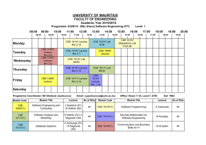 UNIVERSITY OF MAURITIUS FACULTY OF ENGINEERING Monday Academic Year 2015/2016