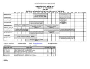 UNIVERSITY OF MAURITIUS FACULTY OF ENGINEERING TimeTable