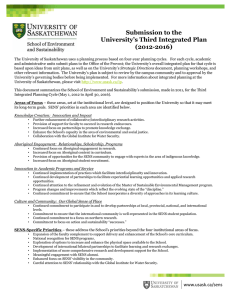 Submission to the University's Third Integrated Plan (2012-2016)