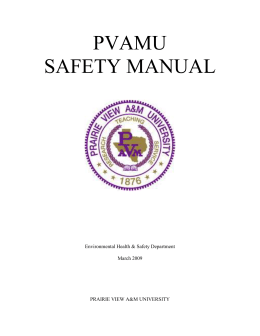PVAMU SAFETY MANUAL  Environmental Health & Safety Department