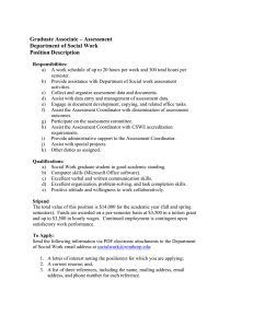 Graduate Associate – Assessment Department of Social Work Position Description