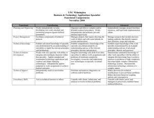 UNC Wilmington Business & Technology Applications Specialist Functional Competencies November 2004