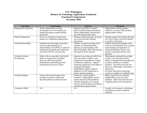 UNC Wilmington Business & Technology Applications Technician Functional Competencies November 2004
