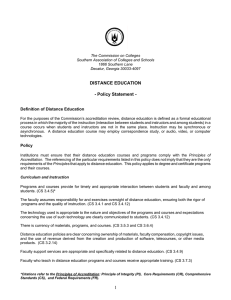 DISTANCE EDUCATION - Policy Statement -