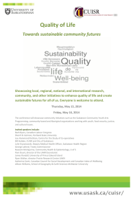 Quality of Life  Towards sustainable community futures