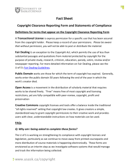 Fact Sheet Copyright Clearance Reporting Form and Statements of ...