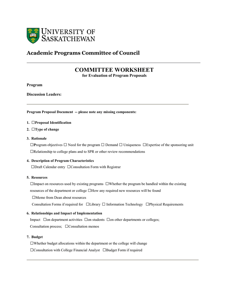 COMMITTEE WORKSHEET □ Academic Programs Committee of Council