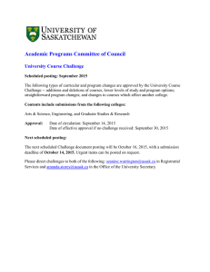 Academic Programs Committee of Council  University Course Challenge