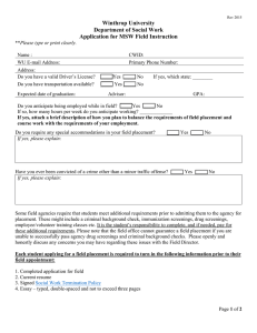 Winthrop University Department of Social Work Application for MSW Field Instruction